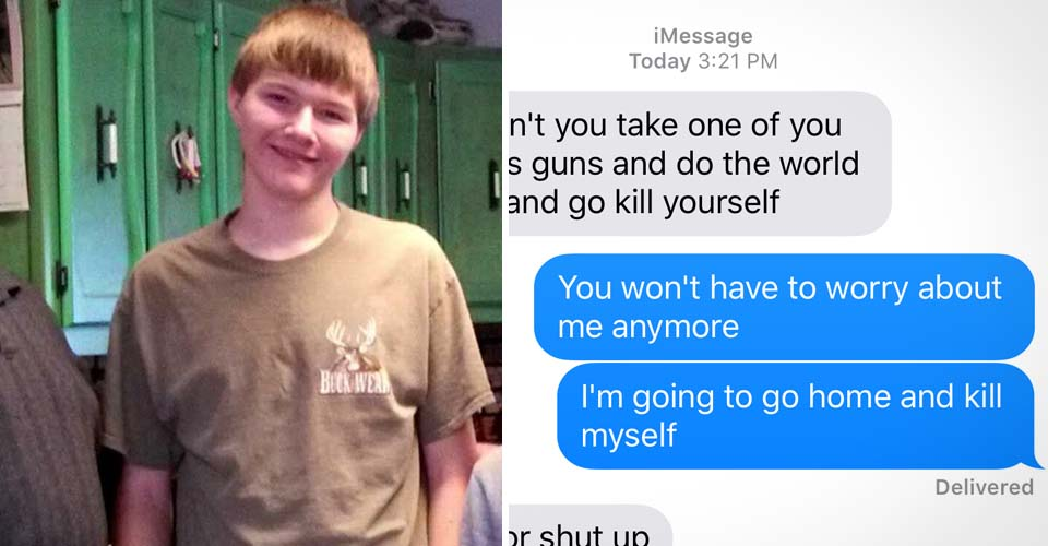 This boy killed himself because of this text. When I saw what it read, I was shattered.