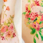 A Korean artist inks soft and delicate tattoos that look like watercolor paintings on your skin.