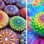 This Artist Paints Ocean Stones With Thousands of Tiny Dots to Create Colorful Mandalas.