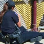 A Female Officer Sits by the Overpass for 3 Hours. But Look Closely at the Yellow Pillar.