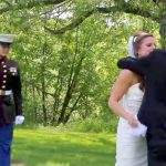 Bride Hugs Father at Wedding, Has No Idea Marine Brother Has Returned Home to Surprise Her.