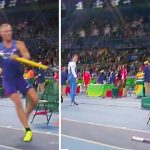 This Olympian Drops His Pole and Spins Around to Stand at Attention for the National Anthem.