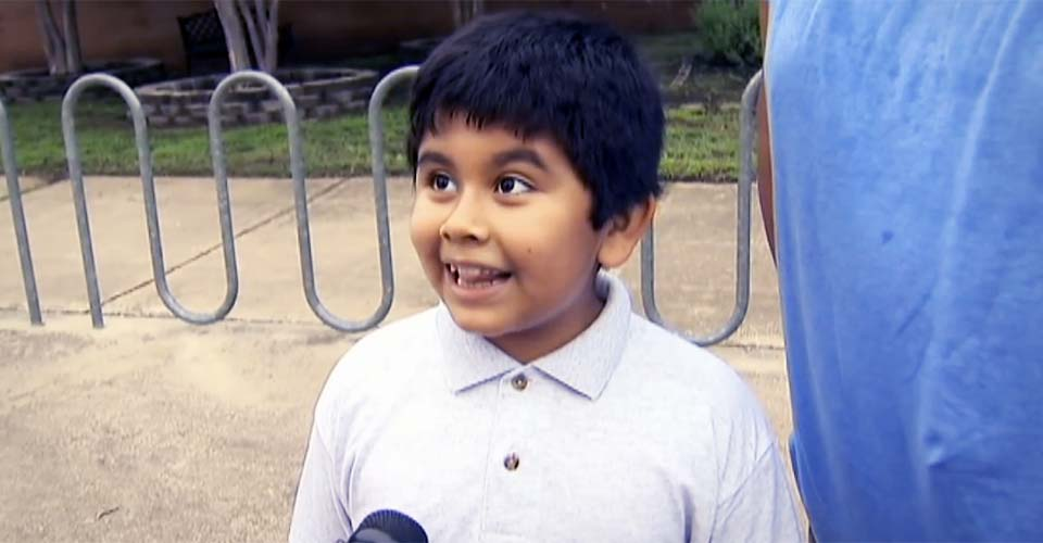 An Excited 4th-Grader Can't Contain His Excitement On First Day of School.