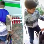 A Little Boy Won't Quit Helping Until His Disabled Friend Can Sit On the Swing With Him.