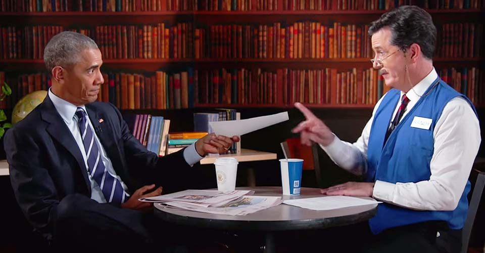 Watch Stephen Colbert Help President Obama Polish His Resume.