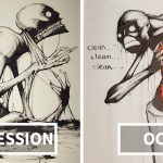 An Artist Illustrated Mental Illness and Disorders for 'Inktober'.