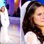 Devastated bride thinks DJ ruined first dance, screams 'Oh my god' when she looks up on stage.