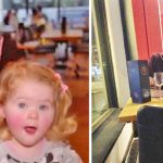 Exhausted mom barely has time to eat dinner, then waiter takes toddler to another table.
