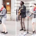 Street musician calls bystander up to mic, but woman shocks everyone with incredible performance.