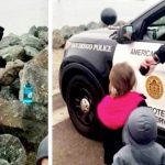 Kids want to say goodbye to Navy father who's leaving on duty. Then cop hands them a speaker.
