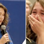 Girl introduces special guest at assembly, quickly realizes teachers set her up.