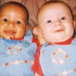 Mom's twins are different colors. 18 years later, they look so different.