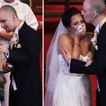 Groom stops wedding and tells bride to turn around, but she bursts into tears when she sees singers' faces.