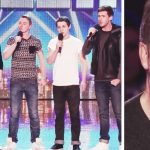 """Simon rolls eyes at """"boy band,"""" but is taken aback when he hears their song choice."""