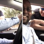 He's pulled over for not having his child in a car seat, then he realizes what's happening.