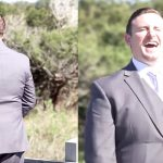 Groom waits to see bride for first look, turns around and… she's not wearing a wedding dress.