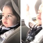 Baby girl patiently waits for the beat to drop, busts a move in adorable fashion when it does.
