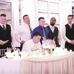 Bride begins speech, but suddenly she tells 6 confused police officers to stand behind groom.