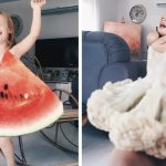 Mom 'dresses' her daughter in food and flowers using forced perspective, becomes Internet star.