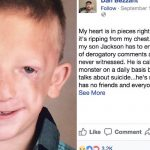 7-year-old is branded a 'monster' before dad teaches bullies a lesson with Facebook post.